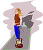 Vector clipart: Girl with guitar