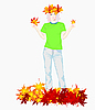 Vector clipart: Girl and yellow leaves