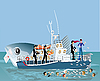 Vector clipart: girl on ship