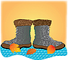 Vector clipart: boots in the leaves
