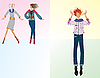 Vector clipart: Three girls dressed fashionably