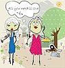 Векторный клипарт: Две блондинки на дороге