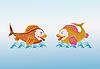 Vector clipart: two magic fish