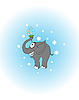 Vector clipart: elefant with flowers