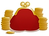 Vector clipart: red change purse