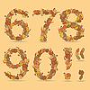 67890 Ziffern aus den herbstlichen Blättern | Stock Vektrografik