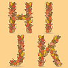 HIJK letters of autumn leaves