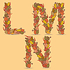 Vector clipart: LMN colorful letters of autumn leaves