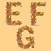 Vector clipart: EFG colorful letters of autumn leaves