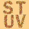 STUV Buchstaben aus den herbstlichen Blättern | Stock Vektrografik