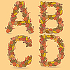 Vector clipart: ABCD letters of autmn leaves