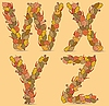 Vector clipart: WXYZ colorful letters of autumn leaves