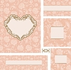 Vector clipart: ornate wedding frame set with heart frame