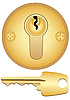 Vector clipart: Gold keyhole and key