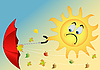 Vector clipart: sun with an umbrella