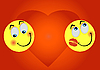 Vector clipart: two enamoured smileys