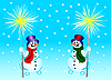 Vector clipart: Snowmans and bengal fire