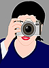 Vector clipart: girl with camera