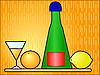 Vector clipart: Bottle with glass and fruit