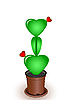 Vector clipart: Cactus with flowers hearts