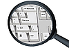 Vector clipart: Part of the keyboard and magnifier