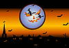 Vector clipart: witches over the city