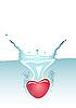 Heart fallen in water | Stock Vector Graphics