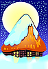 Vector clipart: Small house under snow
