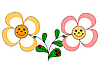 Vector clipart: funny flowers and ladybugs