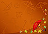 Vector clipart: Autumn background with an umbrella