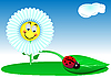 Vector clipart: Funny flower and ladybird