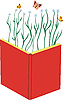 Vector clipart: Red book and flowers