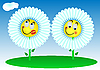 Vector clipart: two funny flowers
