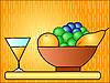 Vector clipart: Vase with fruit
