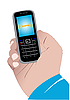 Vector clipart: Hand with mobile phone