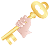 Hand with the golden key