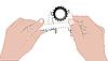 Векторный клипарт: Руки с штангенциркулем