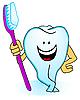 Векторный клипарт: Зуб с зубной щеткой