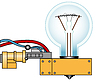Vector clipart: Electric lamp on support