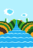 Vector clipart: Natural background with river