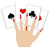 Векторный клипарт: Рука с игральными картами