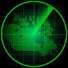 Vector clipart: Radar screen with silhouette of Canada