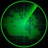 Экран радара с силуэтом Канады