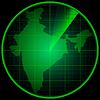 Экран радара с силуэтом Индии