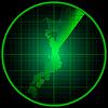 Экран радара с силуэтом Японии