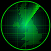 Vector clipart: Radar screen with silhouette of Great Britain