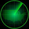 Векторный клипарт: Экран радара с силуэтом США