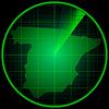 Векторный клипарт: Экран радара с силуэтом Испании