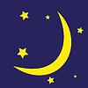 Векторный клипарт: Луна и звезды на темном фоне