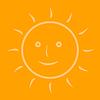 Vector clipart: Cartoon sun on an orange background